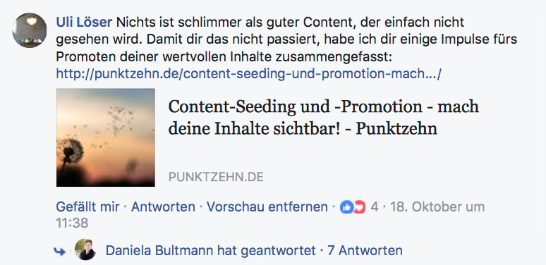 Content-Seeding in einer Facebook-Gruppe