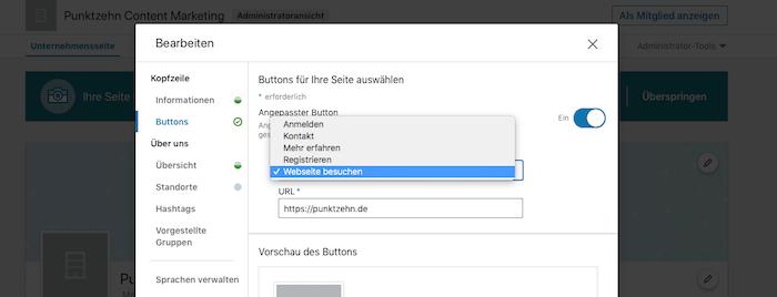 LinkedIn Updates Button Unternehmensseiten