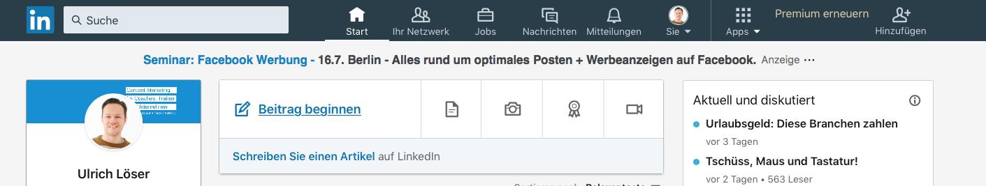 LinkedIn Updates Fotos markieren1
