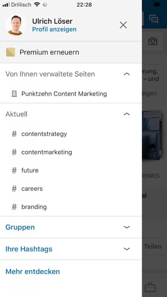 LinkedIn Updates Unternehmensseiten mobil