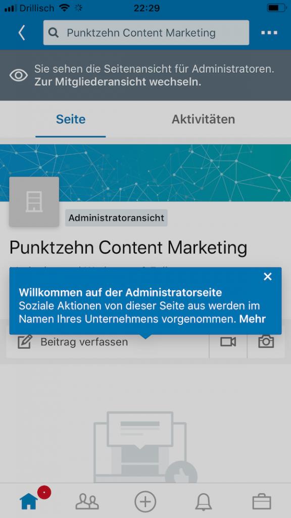 LinkedIn Updates Unternehmensseiten mobil1