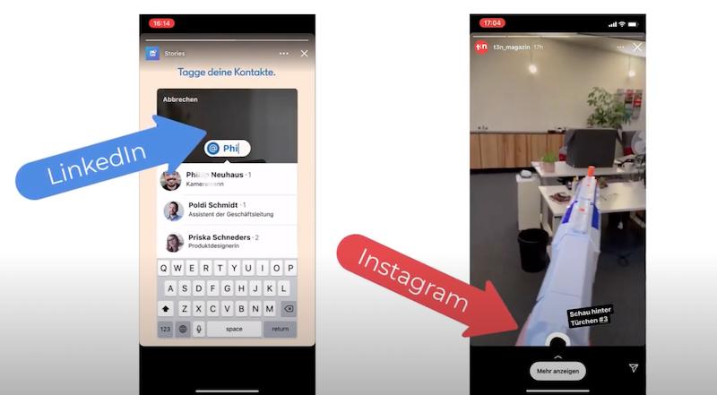 Vergleich LinkedIn Story und Instagram Story